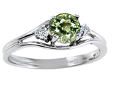 Tommaso Design™ Genuine Green Sapphire and Diamond Ring style: 301682