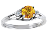 Tommaso Design Genuine Yellow Sapphire and Diamond Ring