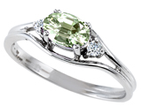 Tommaso Design™ Genuine Green Amethyst and Diamond Ring style: 301684
