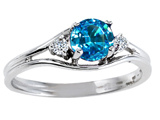 Tommaso Design™ Genuine Blue Topaz and Diamond Ring style: 301686