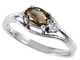Tommaso Design™ Genuine Smoky Quartz and Diamond Ring style: 301687