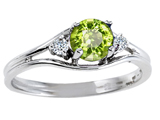 Tommaso Design™ Round 5mm Genuine Peridot and Diamond Ring