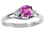 Tommaso Design Round 5mm Created Pink Sapphire and Genuine Diamond Ring