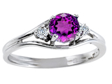 Tommaso Design™ Genuine Amethyst and Diamond Ring