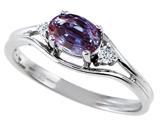 Tommaso Design Simulated Alexandrite And Genuine Diamond Ring