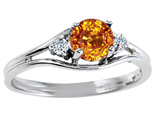 Tommaso Design™ Genuine Citrine and Diamond Ring style: 301697