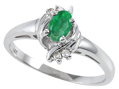 Tommaso Design™ Genuine Emerald and Diamond Ring style: 301701