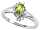 Tommaso Design™ Genuine Peridot and Diamond Ring