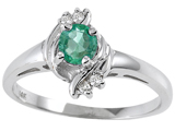 Tommaso Design™ Genuine Emerald and Diamond Ring