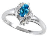 Tommaso Design™ Genuine Blue Topaz and Diamond Ring style: 301708