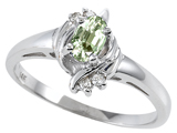 Tommaso Design™ Genuine Green Amethyst and Diamond Ring