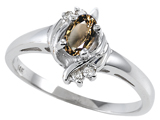 Tommaso Design™ Genuine Smoky Quartz and Diamond Ring style: 301720