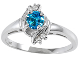 Tommaso Design™ Genuine Blue Topaz and Diamond Ring style: 301726