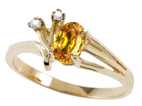 Tommaso Design™ Genuine Citrine and Diamond Ring