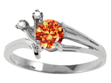 Tommaso Design™ Genuine Orange Sapphire and Diamond Ring