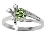 Tommaso Design™ Genuine Green Sapphire and Diamond Ring