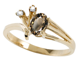 Tommaso Design™ Genuine Smoky Quartz and Diamond Ring style: 301751