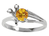 Tommaso Design™ Genuine Yellow Sapphire and Diamond Ring