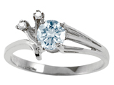Tommaso Design™ Round Genuine Aquamarine and Diamond Ring style: 301755