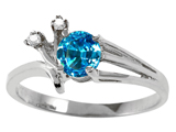 Tommaso Design™ Genuine Blue Topaz and Diamond Ring style: 301760