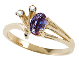 Tommaso Design™ Oval 6x4mm Simulated Alexandrite And Genuine Diamond Ring