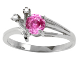 Tommaso Design Created Pink Sapphire and Genuine Diamond Ring