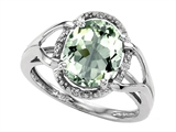Tommaso Design™ Oval 10x8mm Genuine Green Amethyst and Diamond Ring style: 301772