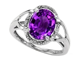 Tommaso Design Oval Genuine Amethyst and Diamond Ring