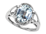 Tommaso Design™ Oval Genuine Aquamarine and Diamond Ring