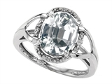 Tommaso Design™ Oval Genuine White Topaz and Diamond Ring style: 301780