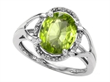 Tommaso Design™ Oval 10x8mm Genuine Peridot and Diamond Ring