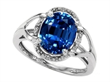 Tommaso Design™ Oval 10x8mm Created Sapphire and Diamond Ring