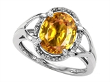 Tommaso Design Oval 10x8mm Genuine Citrine and Diamond Ring