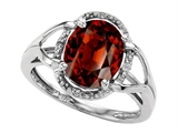 Tommaso Design Oval 10x8mm Genuine Garnet and Diamond Ring