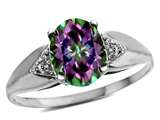Tommaso Design Genuine 9x7 Oval Mystic Rainbow Topaz and Diamond Ring