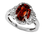 Tommaso Design Oval Genuine Garnet and Diamond Ring
