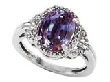 Tommaso Design™ Oval 10x8mm Simulated Alexandrite and Diamond Ring style: 301822