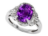 Tommaso Design™ Oval Genuine Amethyst and Diamond Ring