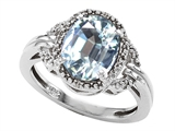 Tommaso Design Oval Genuine Aquamarine and Diamond Ring