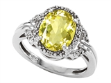 Tommaso Design™ Oval 10x8mm Genuine Lemon Quartz and Diamond Ring style: 301825