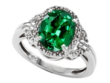 Tommaso Design™ Oval 10x8mm Simulated Emerald And Diamond Ring style: 301827
