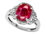 Tommaso Design™ Oval Created Ruby and Diamond Ring