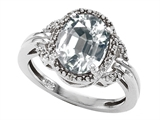 Tommaso Design™ Oval Genuine White Topaz and Diamond Ring style: 301829