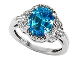 Tommaso Design™ Oval 10x8mm Genuine Blue Topaz and Diamond Ring style: 301830