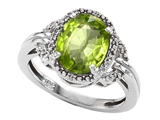 Tommaso Design Oval 10x8mm Genuine Peridot and Diamond Ring