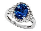 Tommaso Design Oval 10x8mm Created Sapphire and Diamond Ring