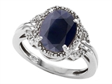 Tommaso Design Oval 10x8mm Genuine Black Sapphire and Diamond Ring