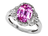 Tommaso Design Oval 10x8mm Simulated Pink Tourmaline And Diamond Ring