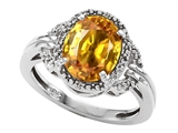 Tommaso Design™ Oval 10x8mm Genuine Citrine and Diamond Ring style: 301838