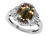 Tommaso Design™ Oval 10x8mm Genuine Smoky Quartz and Diamond Ring style: 301839